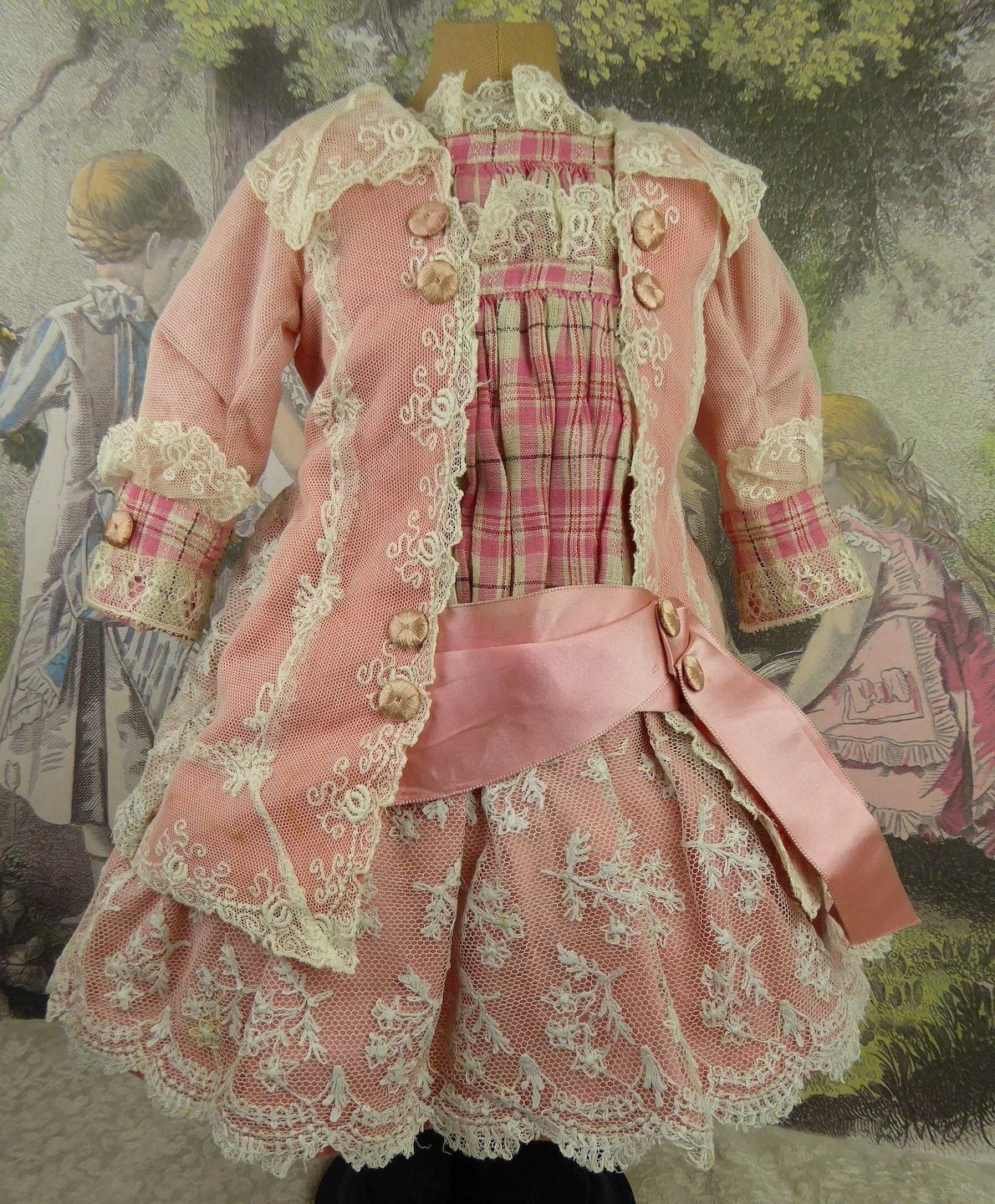 b885592799801 French pink satin and lace antique doll dress with matching bonnet for  Jumeau, Bru, Steiner, Gaultier or other Bébé