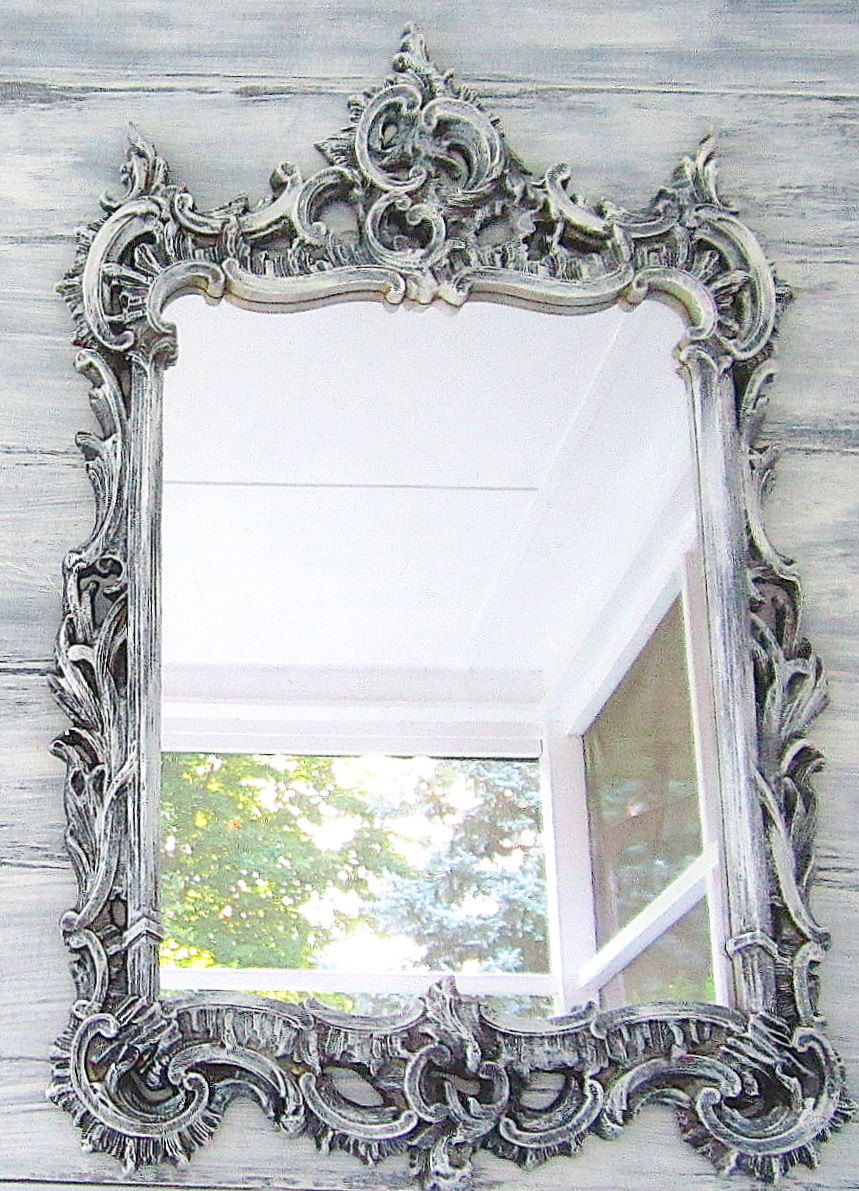 Decorative vintage mirror 52 x24 shabby chic baby nursery for Fancy white mirror
