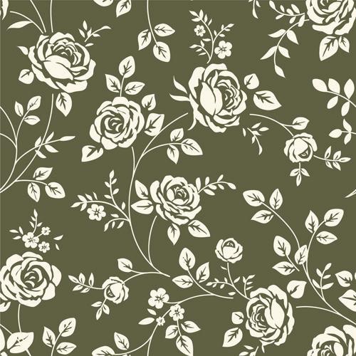 Retro Roses Seamless Patterns Design Vector 01 Vintage Floral Wallpapers Flower Iphone Wallpaper Floral Wallpaper