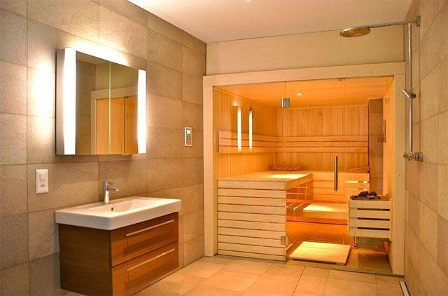 Contemporary Master Bathroom with Sauna, Rain shower, Sauna, Ikea Godmorgon  Odensvik Sink Cabinet with 2 Drawers, Shower room