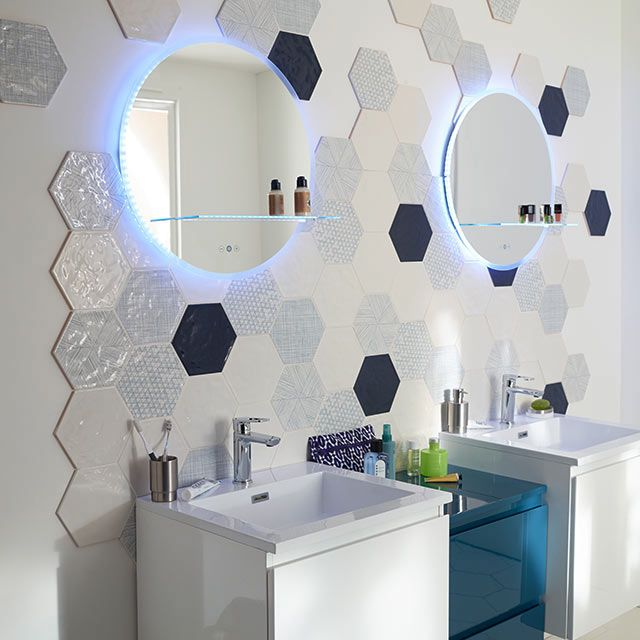 carrelage mural hexagonal 17 5 x 20 cm d cor makara castorama salle de bain pinterest. Black Bedroom Furniture Sets. Home Design Ideas