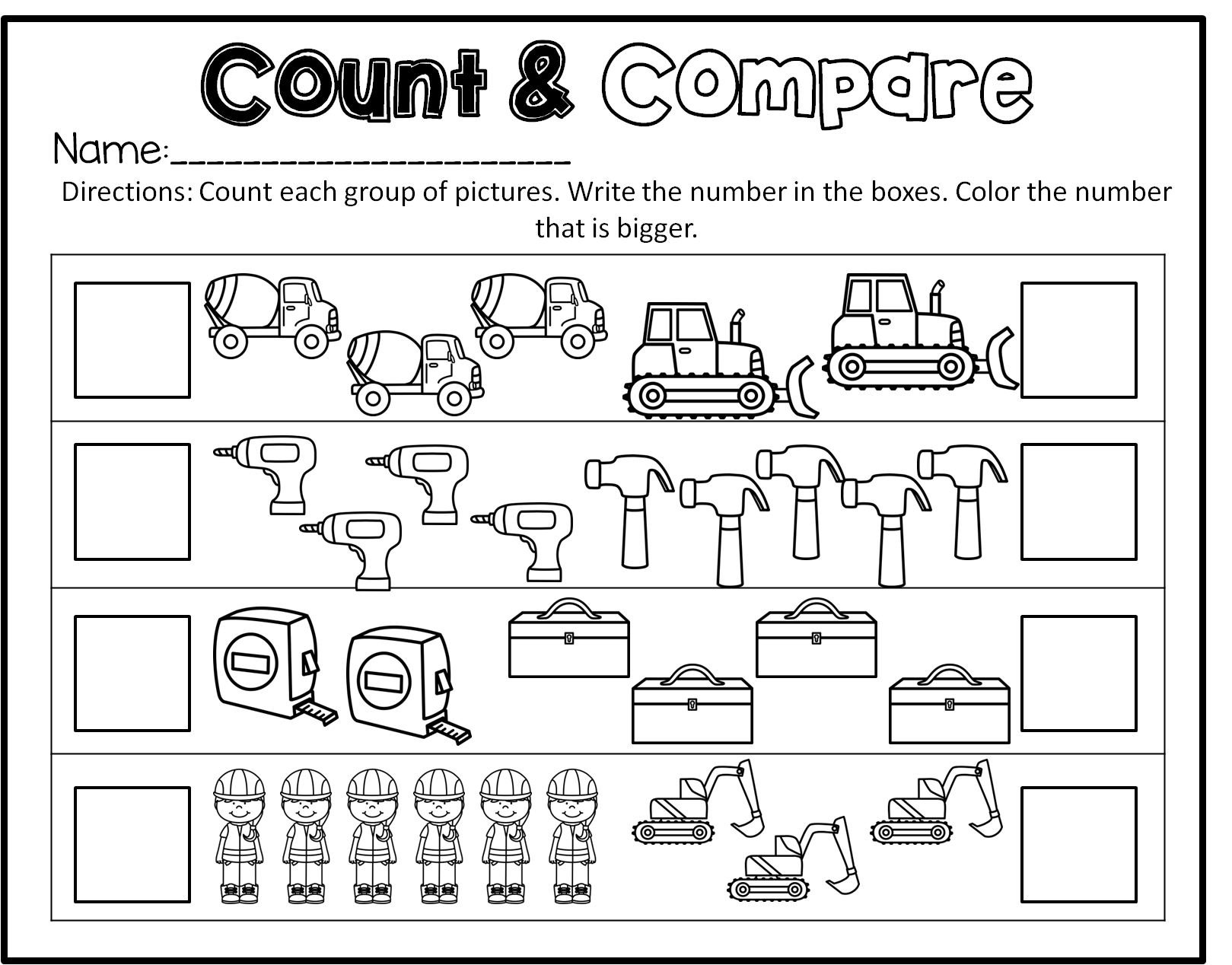 Construction Preschool Math Literacy And Writing Pack