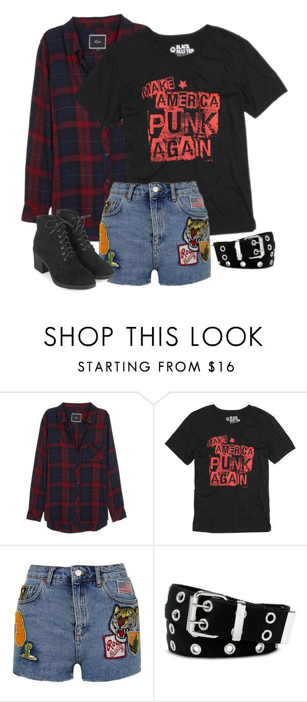 """make America punk again"" by rejected-outcast ❤ liked on Polyvore featuring Rails, Topshop and Relic"