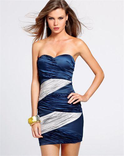 Vestido Strapless Azul Y Plateado En 2019 Modelos De