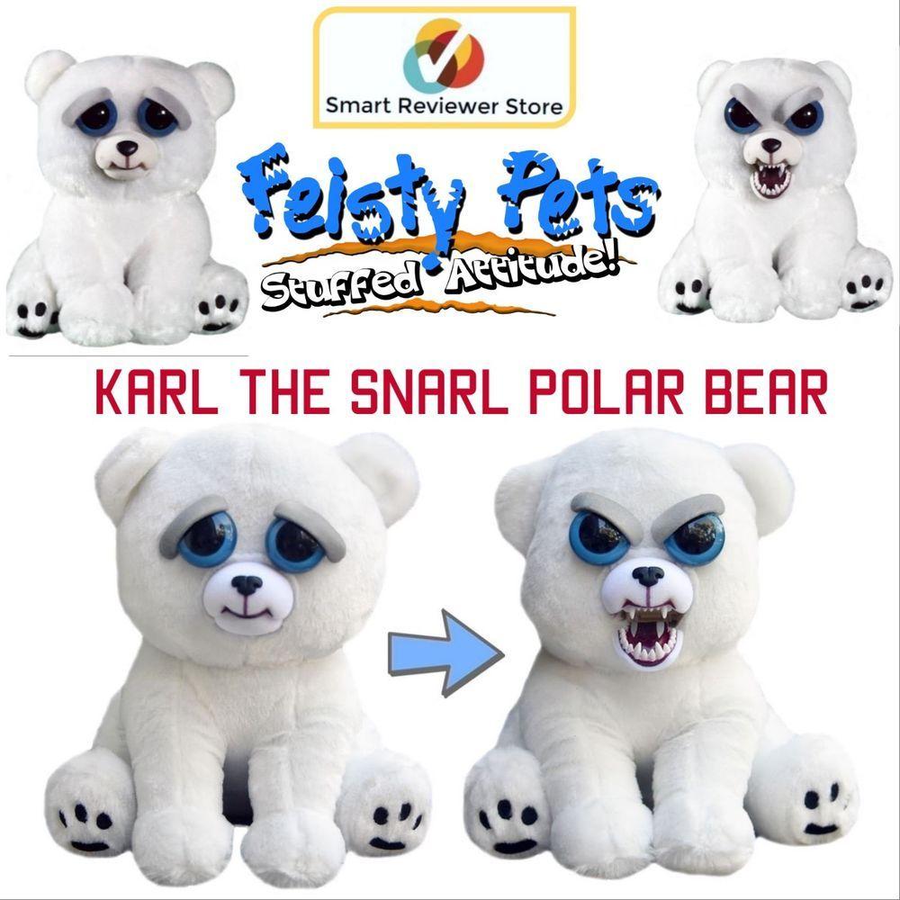 Feisty Pets Cute To Scary Stuffed Animal Plush Squeeze Toy Polar Bear 8 5 Inch Feistypets Kids Toys Pets Bikini