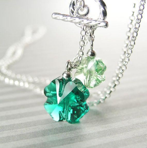 050359877e692 Four Leaf Clover Necklace, Sterling Silver, Green Shamrock Necklace ...