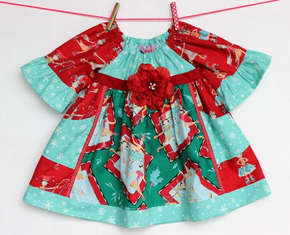 Ice Skaters Holiday  Dress by WildOliveKids on Etsy, $35.00