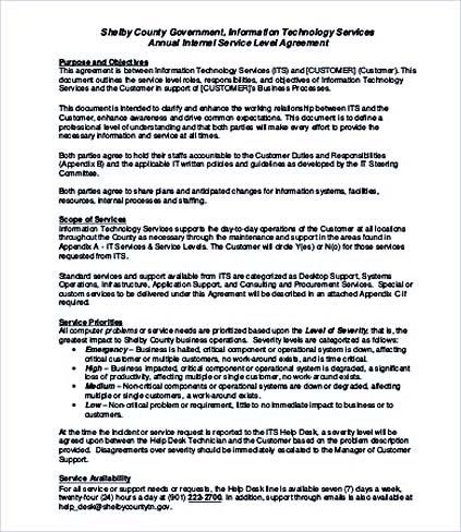 Internal Service Level Agreement Template  Service Level Agreement