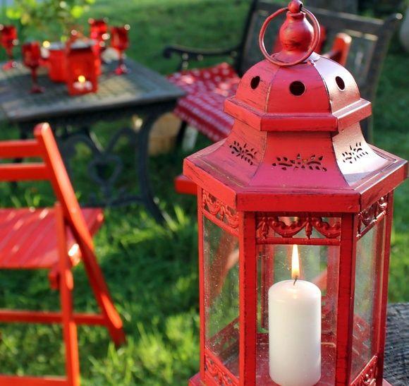 kynttilä,lyhty,punainen,piha,puutarha
