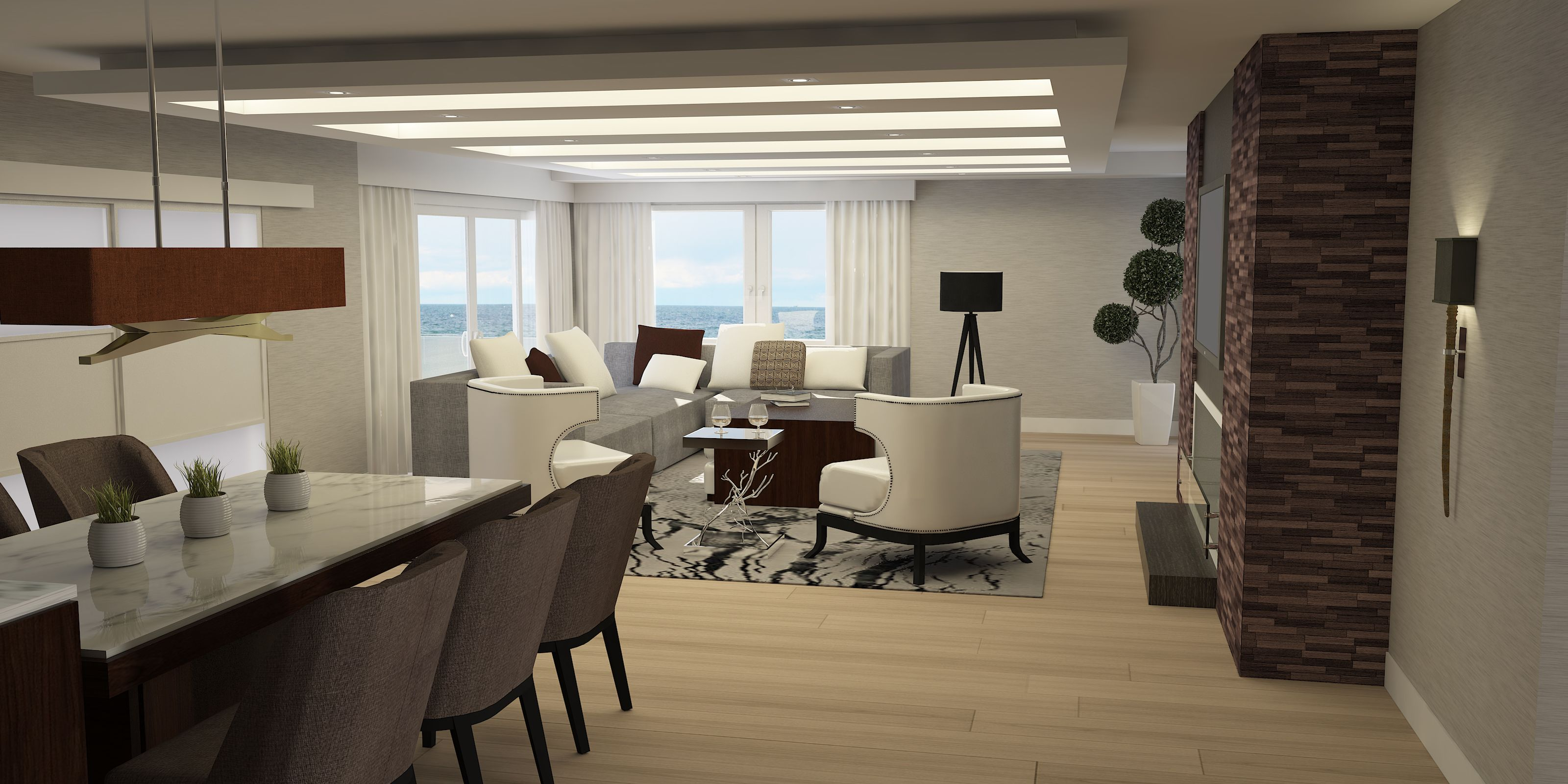 Dise o interior estar comedor diario render y for Diseno interiores 3d