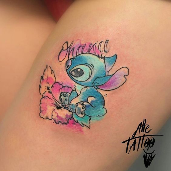 22 Adorable Colorful And Black Ink, Disney Tattoos | Blaumode.com