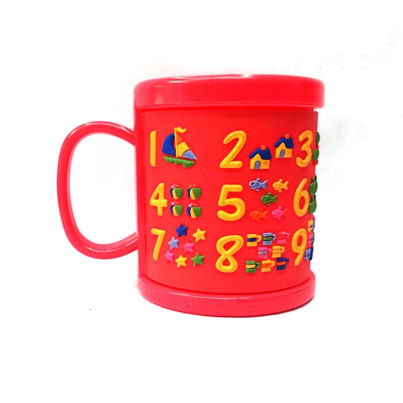 New Arrival Plastic Elegant Coffee Mugs Kids Cups Red Embossed Figure Water Tumbler With Lids