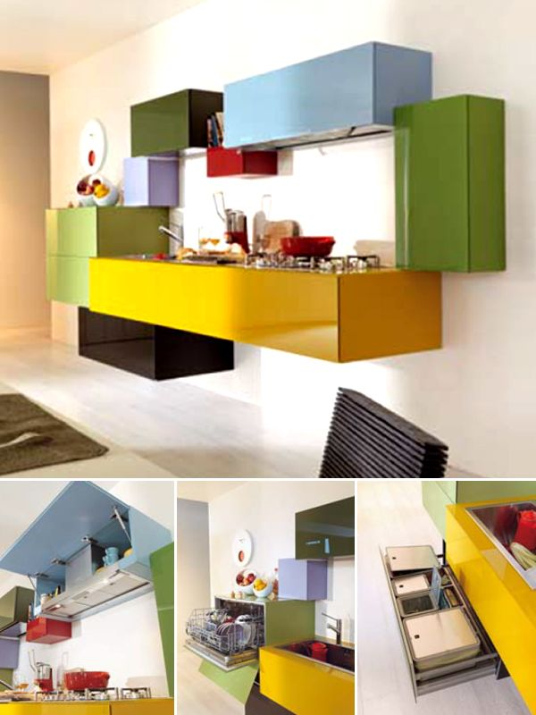 Modular fitted kitchen without handles 36E8 by Lago | #Design Daniele Lago (2008) #colour #kitchen @LAGO
