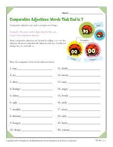 comparative adjectives words ending in y worksheets spelling worksheets and english grammar. Black Bedroom Furniture Sets. Home Design Ideas
