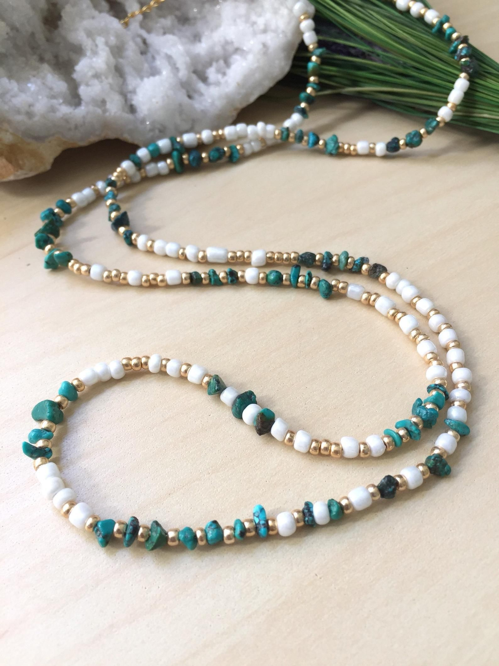 07b45bd27eae Long Turquoise and Seed bead necklace White and Gold wrap bracelet ...