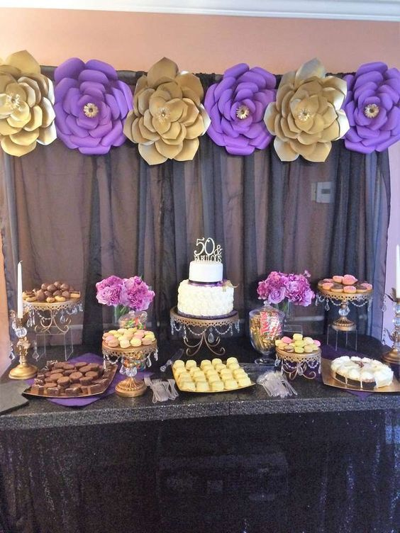 Gold Purple And Black Birthday Party Ideas Decoracion De Fiesta