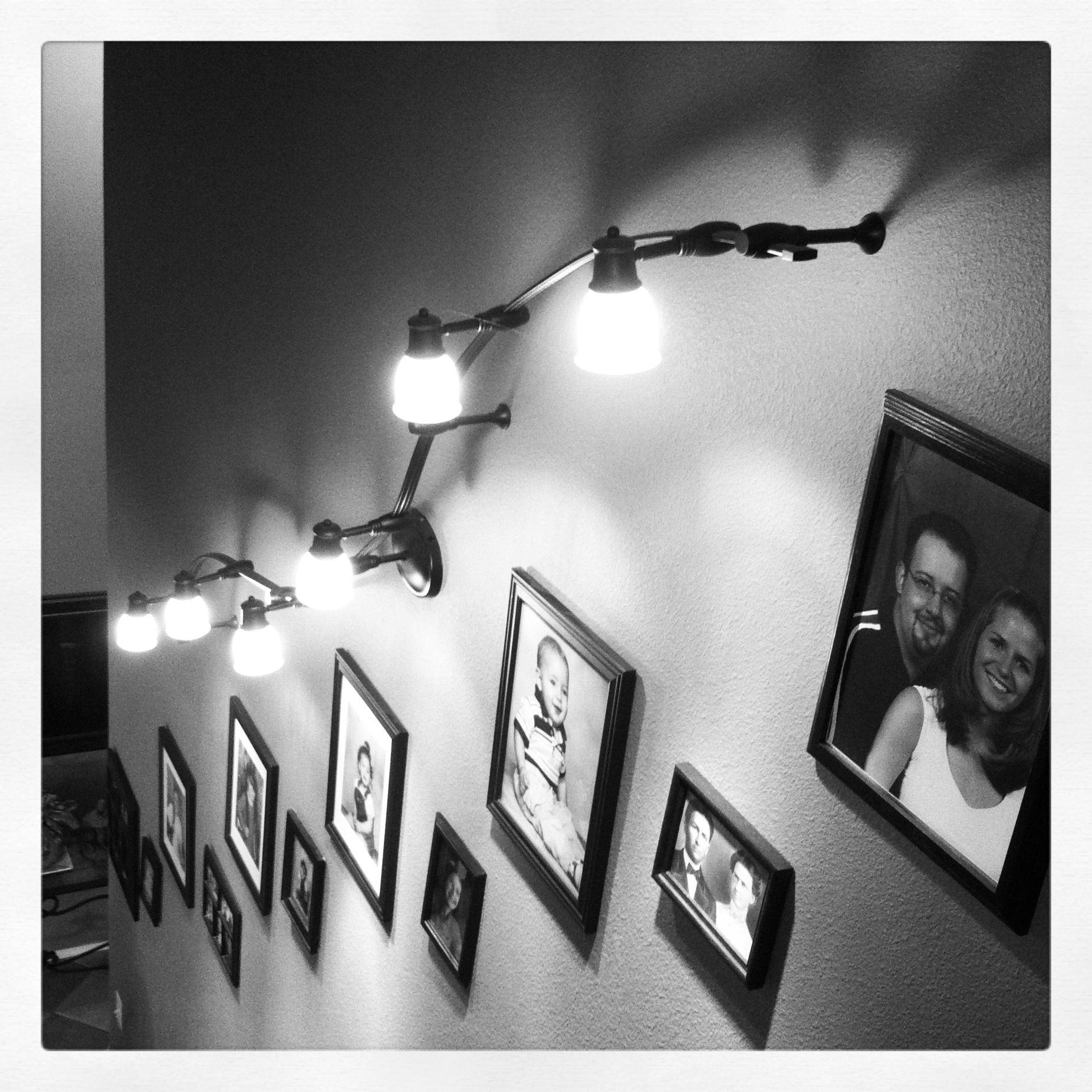 Stairway Lighting Fixtures: Track Lighting Up A Long Stairway Or Hallway. Gives Lots