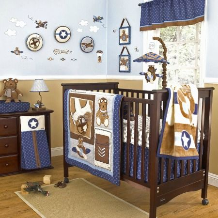 Airplane teddy bear nursery decor collection babyboynursery airplane nursery decor ideas - Airplane baby bedding sets ...