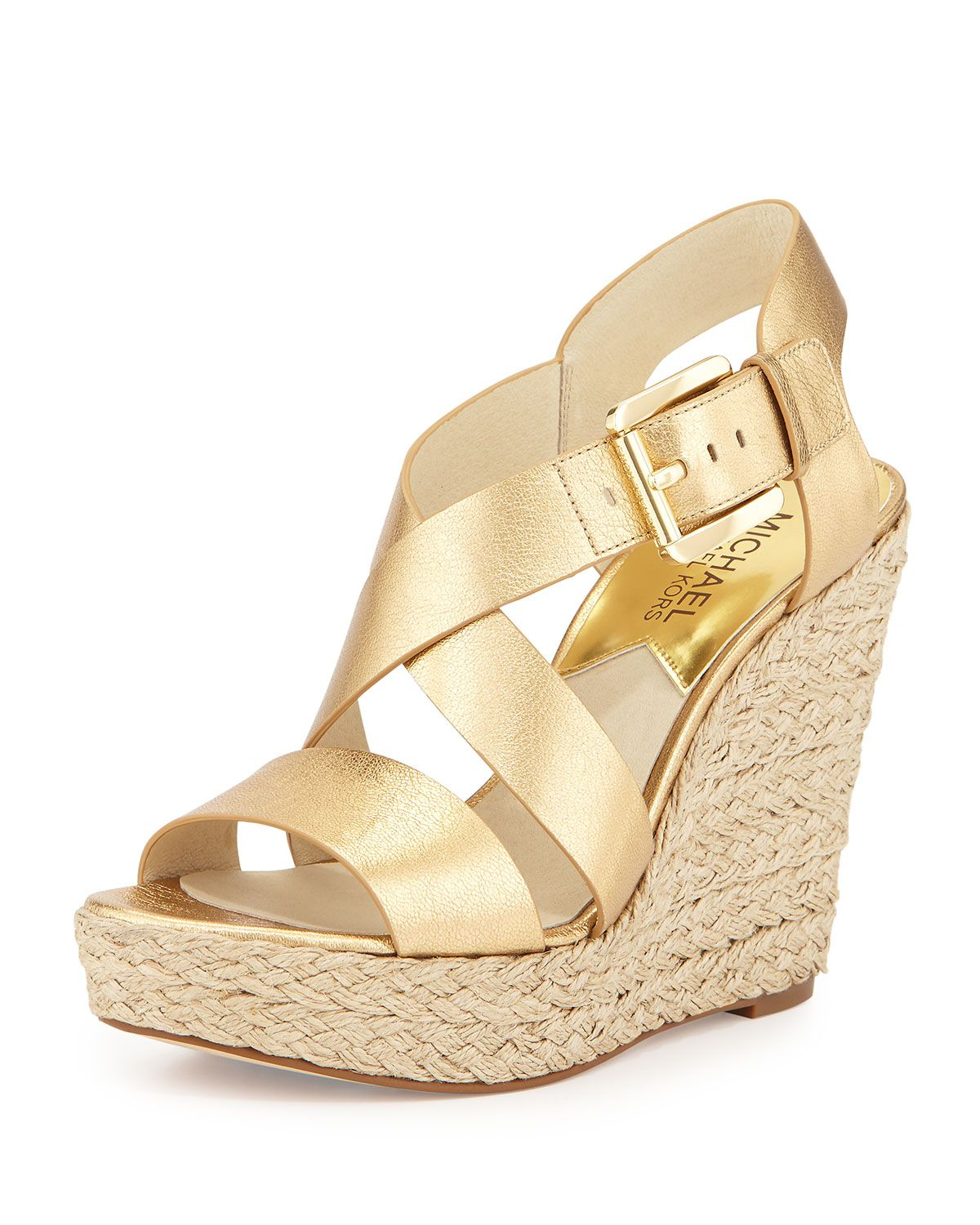 9301b6b112e Giovanna Leather Espadrille Wedge Pale Gold | My Style | Michael ...