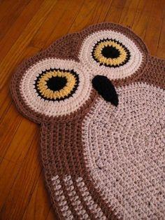 Crochet Oval Owl Rugowl Rughand Made Rug Oval Rugkids Rug