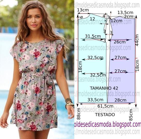 Muito fácil de fazer este molde de vestido floral encontra-se no tamanho 42 na tabela de medidas Portuguesa e 44 na tabela de medidas Brasileira.