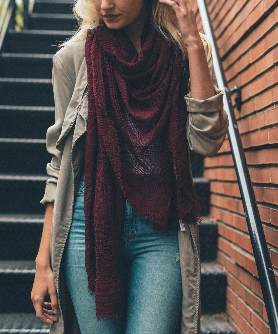 981bf705488d0 Take a look at this Burgundy Shredded Open-Weave Blanket Scarf - Women  today!