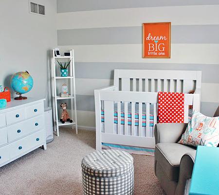 Grey striped wall modern nursery trend watch gray for Modern grey nursery