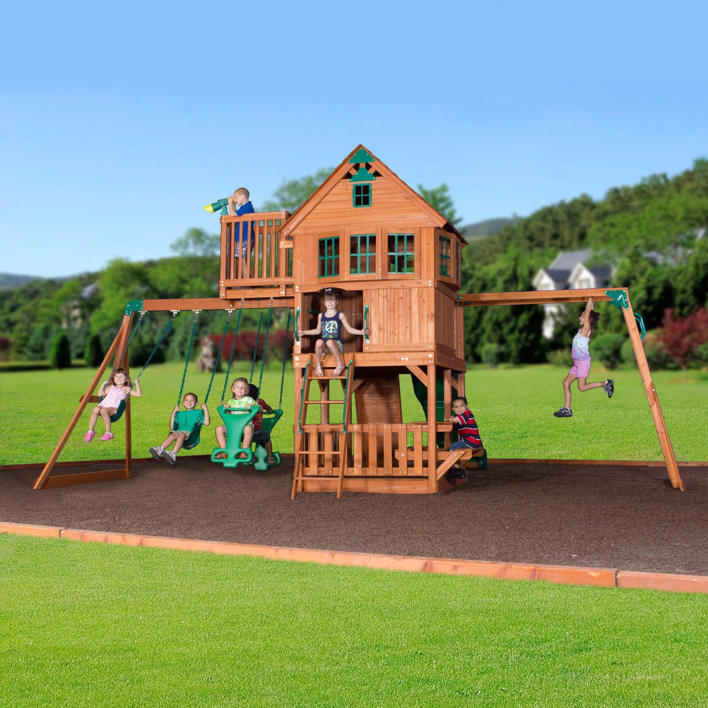 Skyfort Ii Cedar Swing Set Play Set With Slide Sam S Club