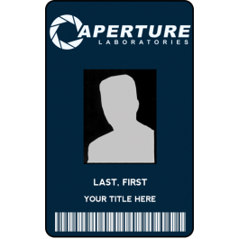 Aperture Science Employee Id Card From The Identity Props Store Employee Id Card Aperture Science Cards