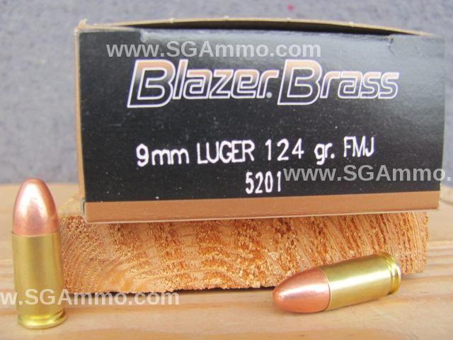 1000 round case 9mm cci blazer brass 124 grain fmj ammo 5201