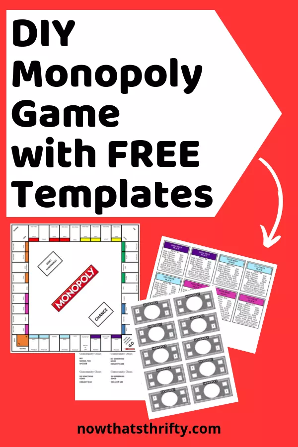 DIY Monopoly Game with Free Templates Monopoly game