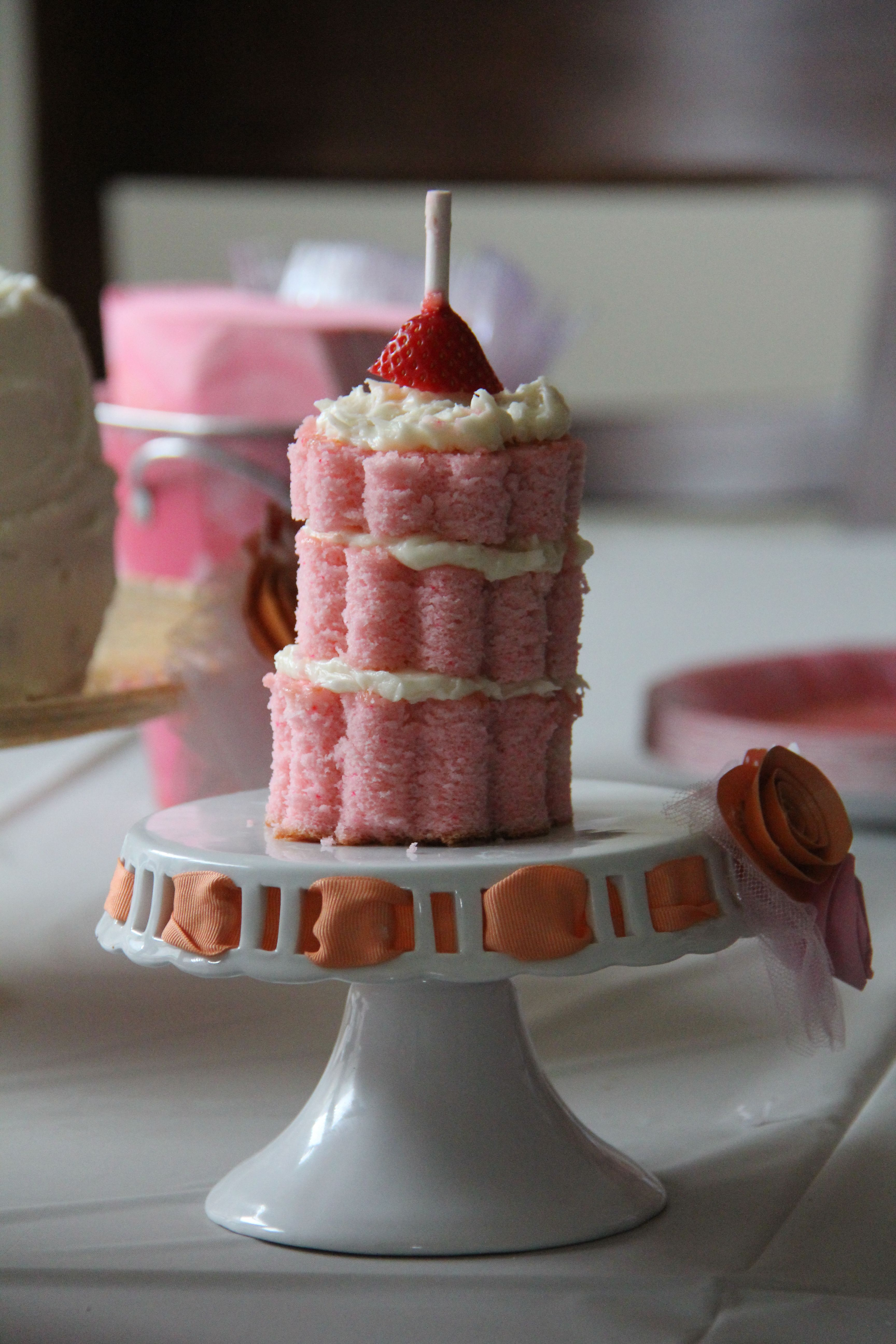 Small ombre cake for 1st bday with strawberry on top