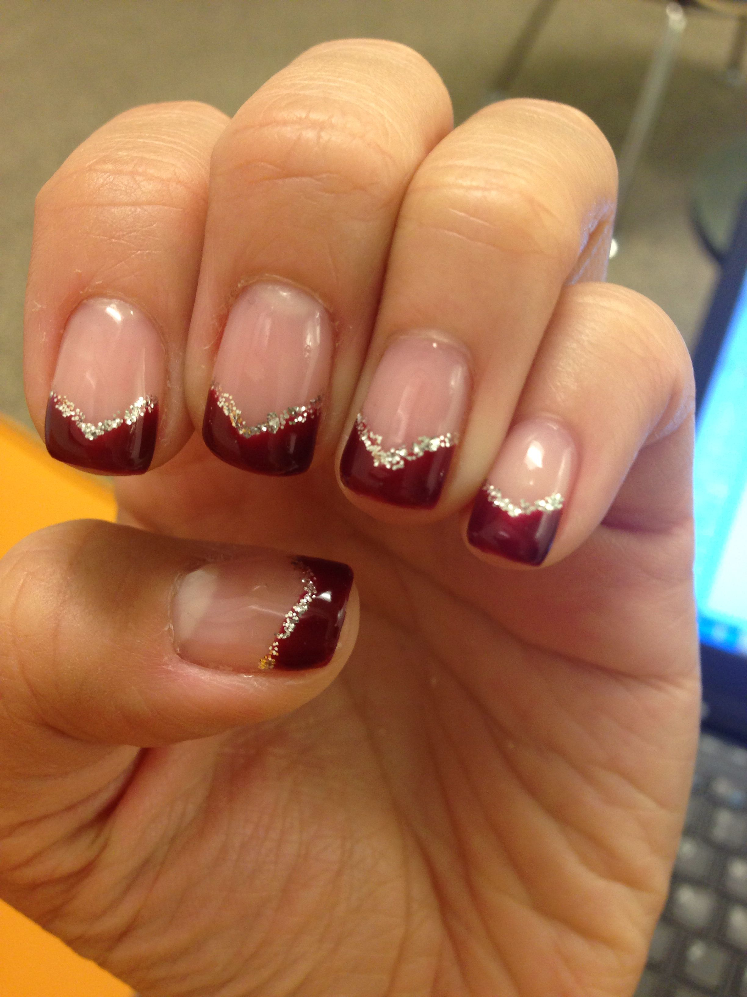 Red Triangle Tip Nails With Silver Glitter Cly Yet Festive For The Holidays