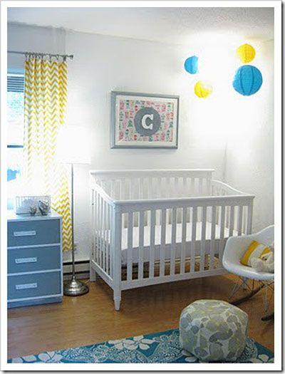 Blue And Yellow Modern Gender Neutral Baby Nursery On 300 Budget