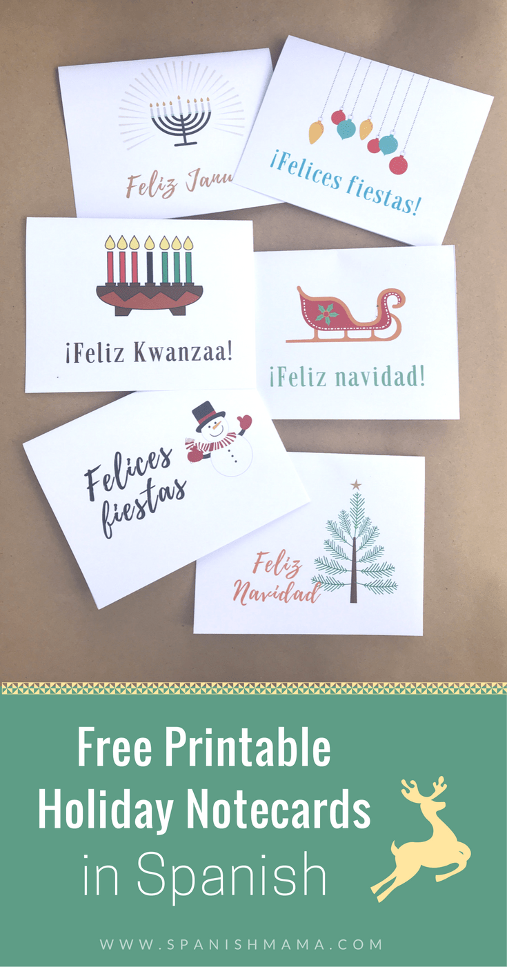 picture relating to Printable Christmas Cards for Teachers identify Totally free Printable Xmas and Trip Playing cards inside Spanish