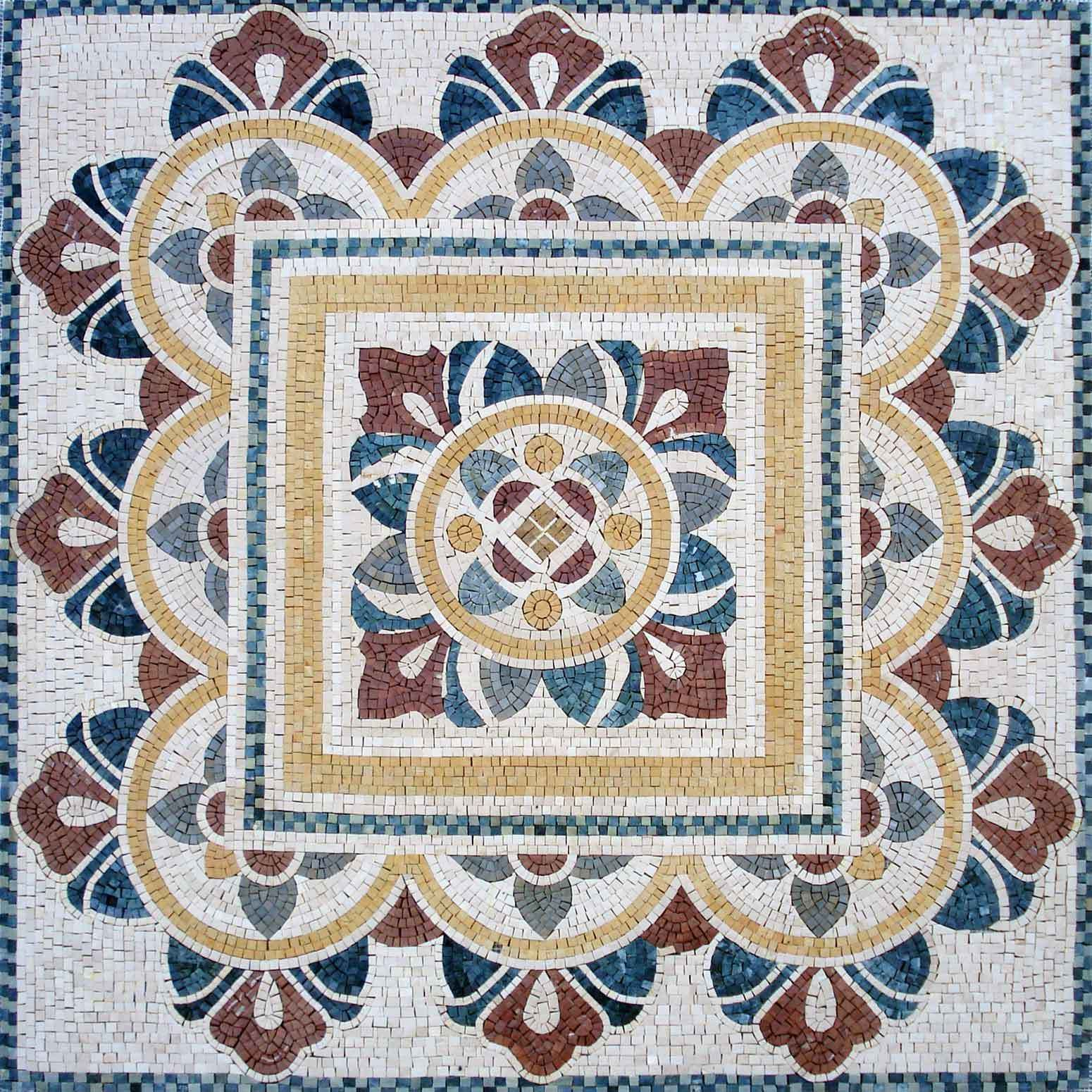 "Lebanese 60""x60""Square Inlay Geometric Marble Mosaic Tile"