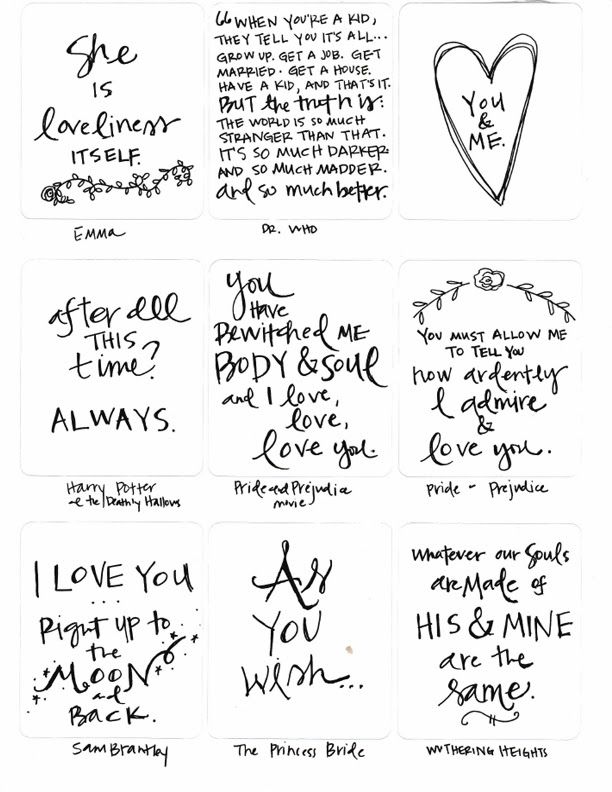 Free Pocket Page Sized Love Themed Quote Cards NoelMignon