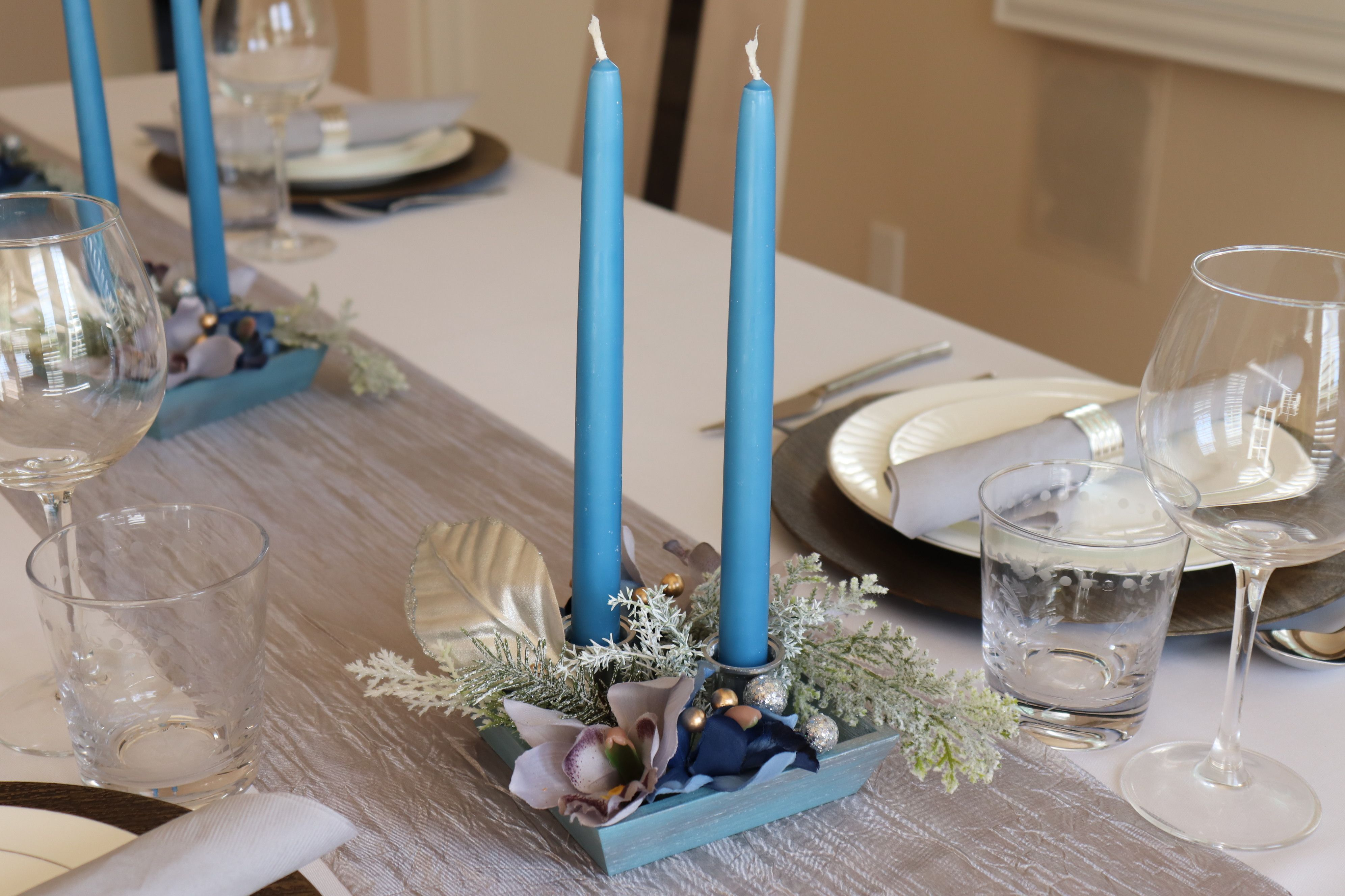 Christmas Centerpiece With Candles Blue White Candle Holder Centerpiece Christmas Centerpiece For Table Christmas Candle Centerpiece Christmas Table Centerpieces Christmas Centerpieces