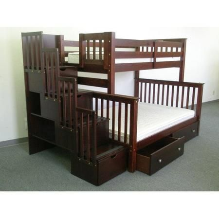 Bedz King Stairway Bunk Beds Twin Over Full With 4 Drawers In The Steps And 2 Under Bed Drawers Cappuccino Walmart Com Bed With Drawers Stairway Bunk Beds Bunk Beds