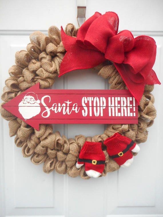 christmas wreath santa wreath christmas burlap wreath burlap - How To Decorate A Burlap Wreath For Christmas