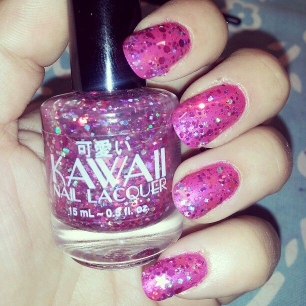 Kawaii Nail Lacquer Pink Stardust over Revlon Colorstay Wild ...
