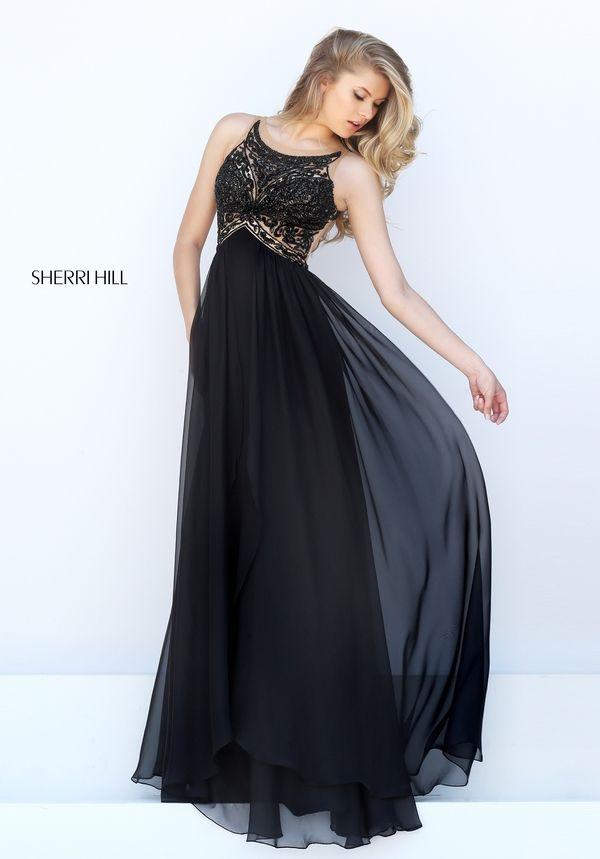 Open Back Bateau Neckline Black Prom Dress sherri hill 50393