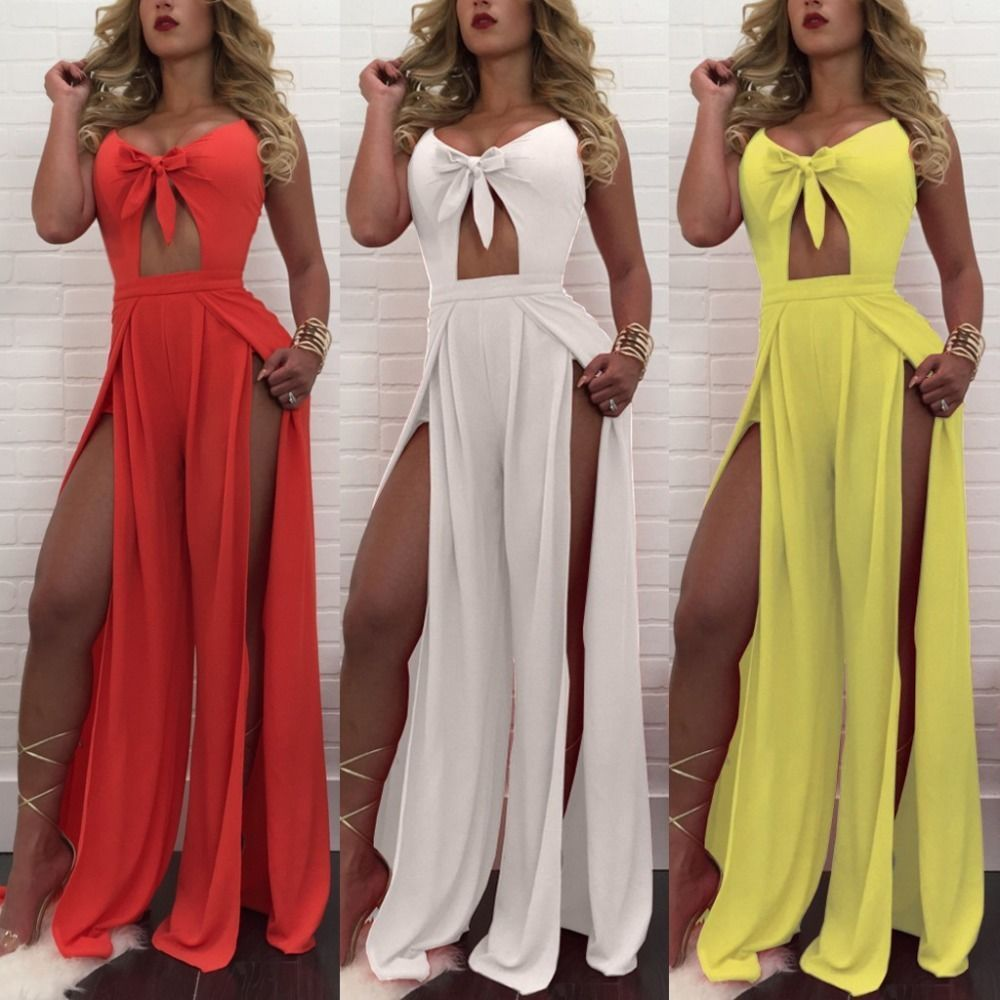 Women sexy see through high slit wrap cropped jumpsuit summer ladies