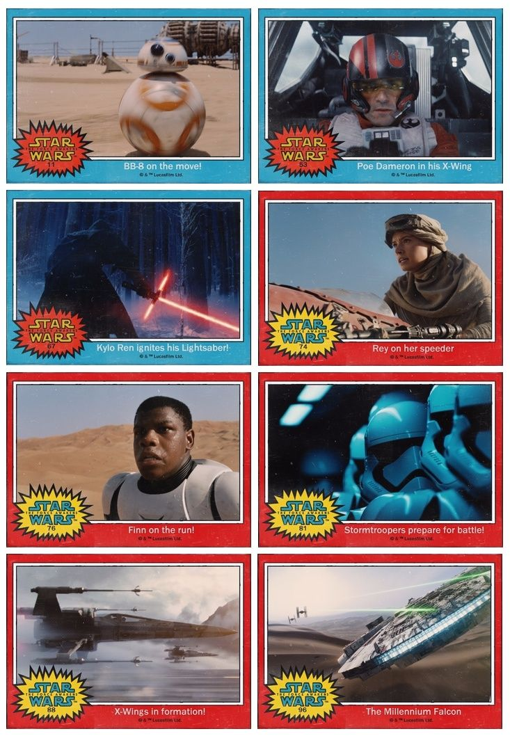 Man seeing these blue and red topps trading cards really