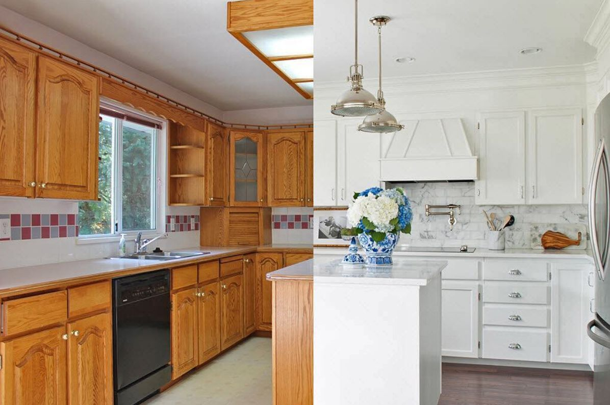 13 ways to makeover dated kitchen cabinets without ...