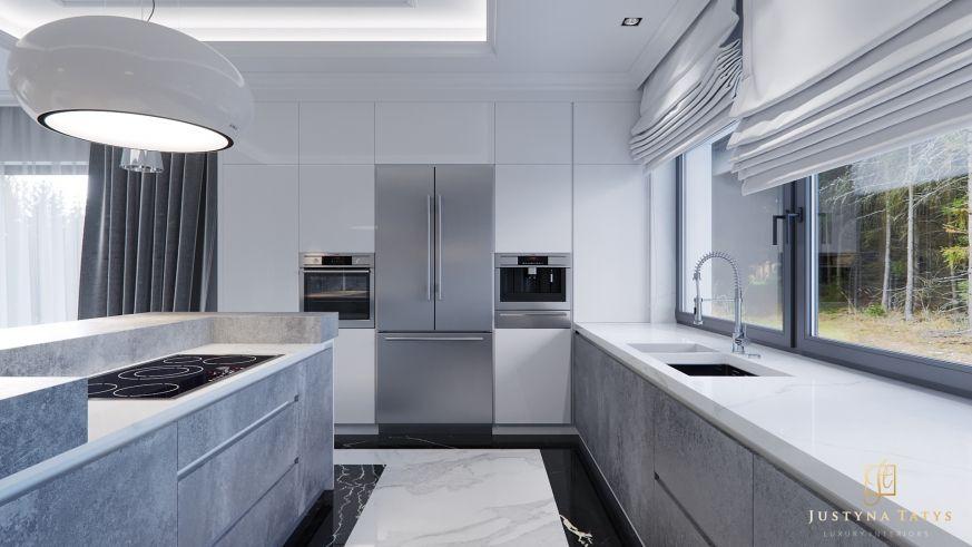 Foorni Pl Projekt Justynatatys Big Kitchen Modern Style Concrete White Marble Duza Biala Kuchnia Beton Fronty Rolety White Kitchen Kitchen Home