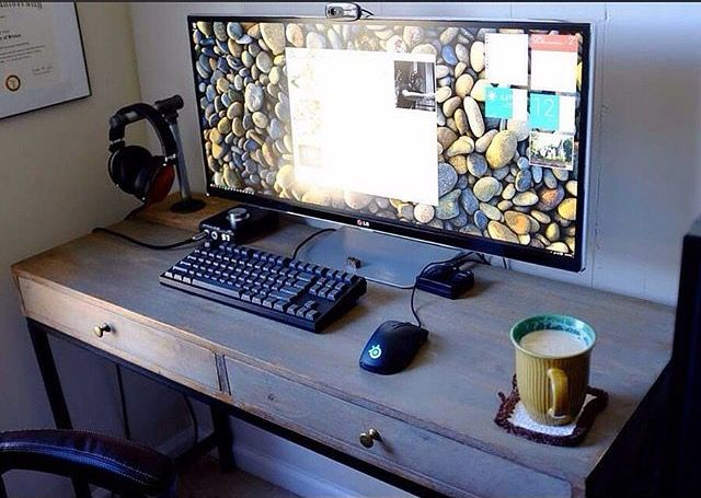 """more or less how I want my desktop space to look: 34"""" UW monitor, mechanical (rgb) backlit keyboard, naga chroma mouse, some quality headphones on a stand, a usb charge station, and a cup of tea. mmmm."""