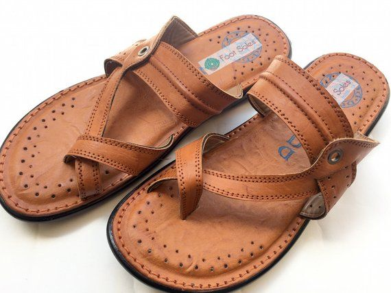 f3d36c4c8435f Brown Leather Mens Ethnic Indian Slip On Shoes, Mens Flats, Mens Slippers,  Handmade Mens Sandals