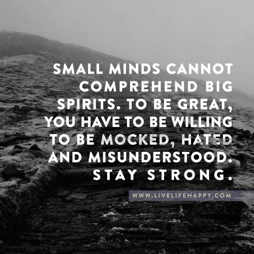 Small Minds Can't Comprehend Big Spirits. To Be Great, You