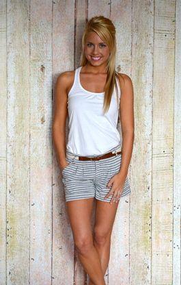 Striped Belted Shorts   Black